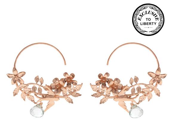 Alex Monroe Rose Gold Swallow Earrings