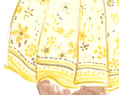 Golden floral skirt material